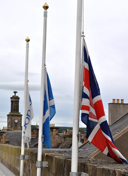 Moray Council flags at half mast