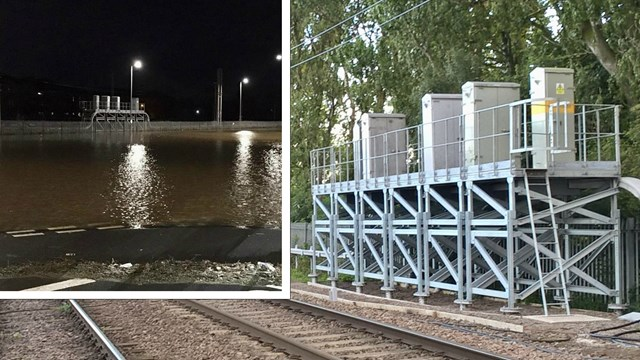 Signalling equipment on stilts helping storm-proof West Coast main line: Signalling cabinets on stilts at Caldew junction composite