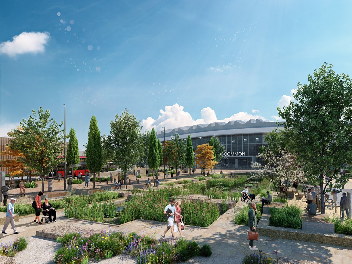 HS2 Minister unveils exciting new designs for public space outside West London 'super-hub' station: Old Oak Common Urban Realm Designs - Wetland Common