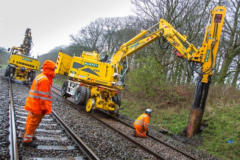 Piling was carried out earlier this year to allow masts to be installed between Kettering and Corby
