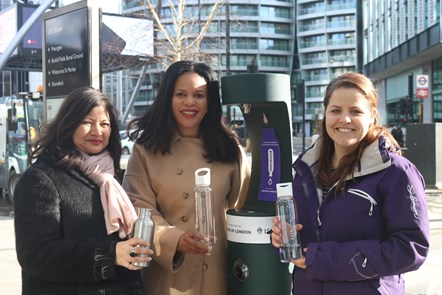 New drinking fountain near Old Street helps to cut single-use plastic waste: Launch of new Old Street drinking fountain with (L-R) London Deputy Mayor for Environment and Energy Shirley Rodrigues; Cllr Claudia Webbe, Islington Council's executive member for environment and transport; and one of the first members of the public to use the new drinking fountain