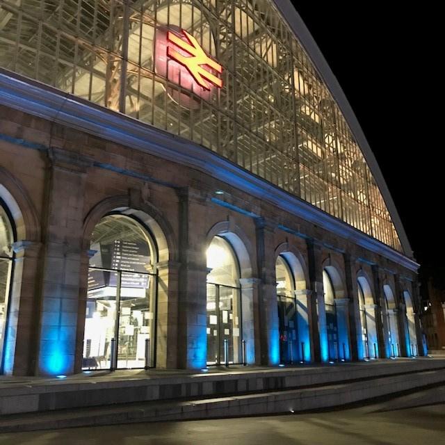 Liverpool Lime Street - Blue lighting