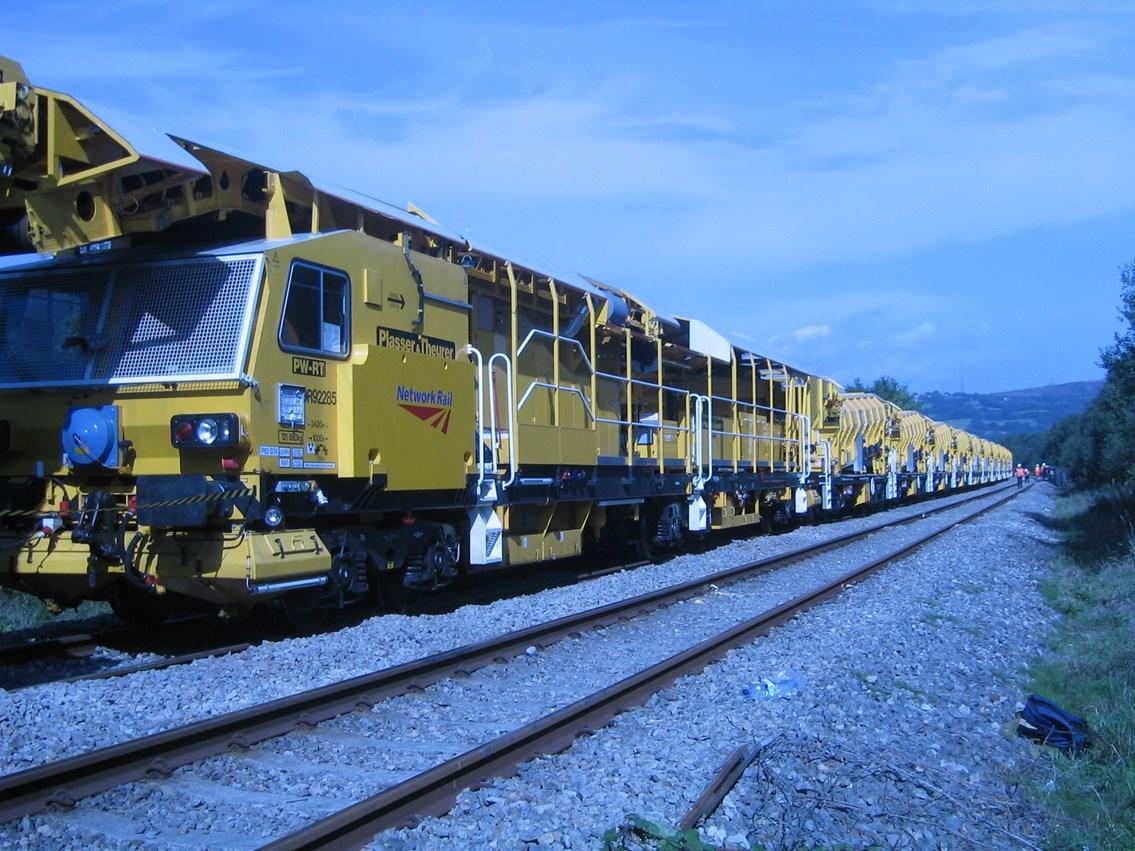 Weekend maintenance between Ipswich and Bury St Edmunds in December: High output ballast cleaner