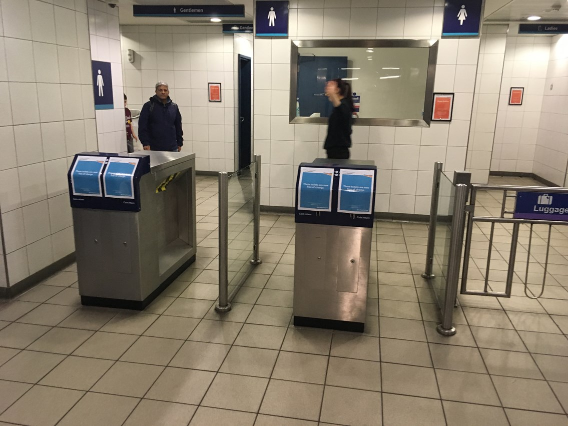 Barriers have been removed as toilets are now free at Paddington