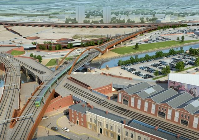 Weekday rail services return to normal after Ordsall Chord work: Ordsall chord aerial view