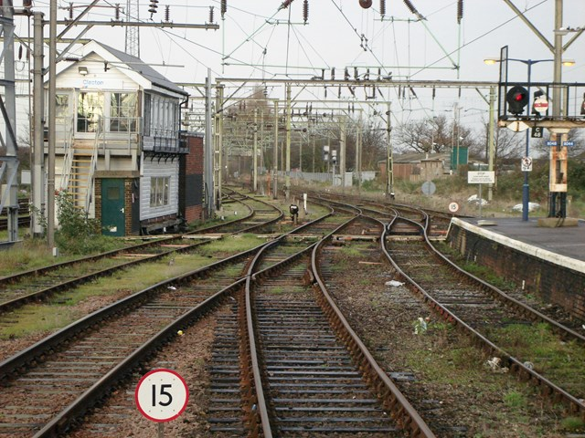 Clacton signal box with points