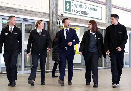 Transport for Wales announces creation of more than 120 jobs: Mike Palfrey, Frances Norman, Minister Ken Skates, Holly Flye and Lewis Williams