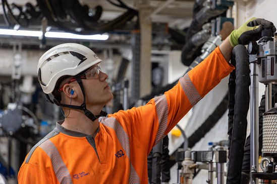 Tunnelling Engineer checking pressure onboard HS2 tunnel boring machine Cecilia, August 2021 HS2-VL-28601