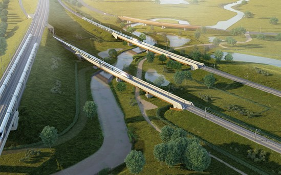 River Cole Viaducts aerial view: Credit: HS2 Ltd