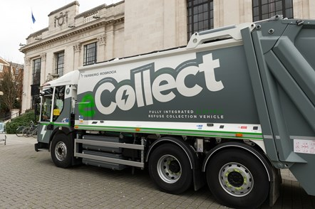 The eCollect electric refuse vehicle outside the Town Hall