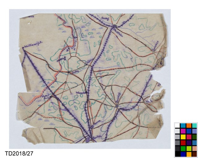 POW 1489 Map of Dutch-German border for planned escape by Campbell, circ...