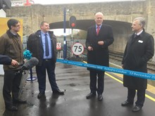Officially opening the link between Oxford Parkway and Oxford - Martin Frobisher, Network Rail; Dave Penney, Chiltern Railways; Chris Grayling, secretary of state; Mark Carne, Network Rail