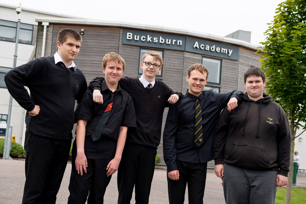 Film Comp Winners Bucksburn Academy, L-R Jason Cobb, Tyler Gowans, Stuart Barclay, Marco Jackson, Jack Milne