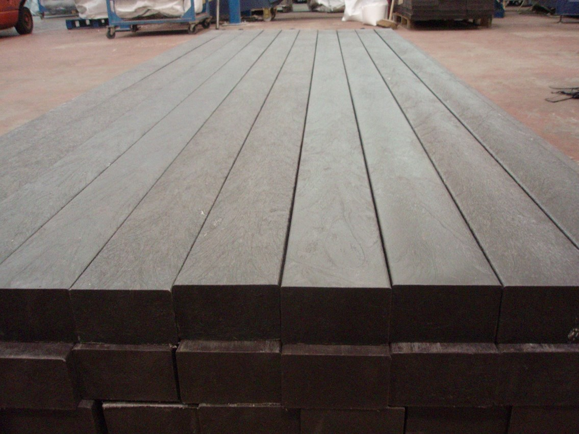 Railway sleepers made from recycled plastic: Weighing in at just over 80kg, these sleepers contain at least 60kg of recycled material.