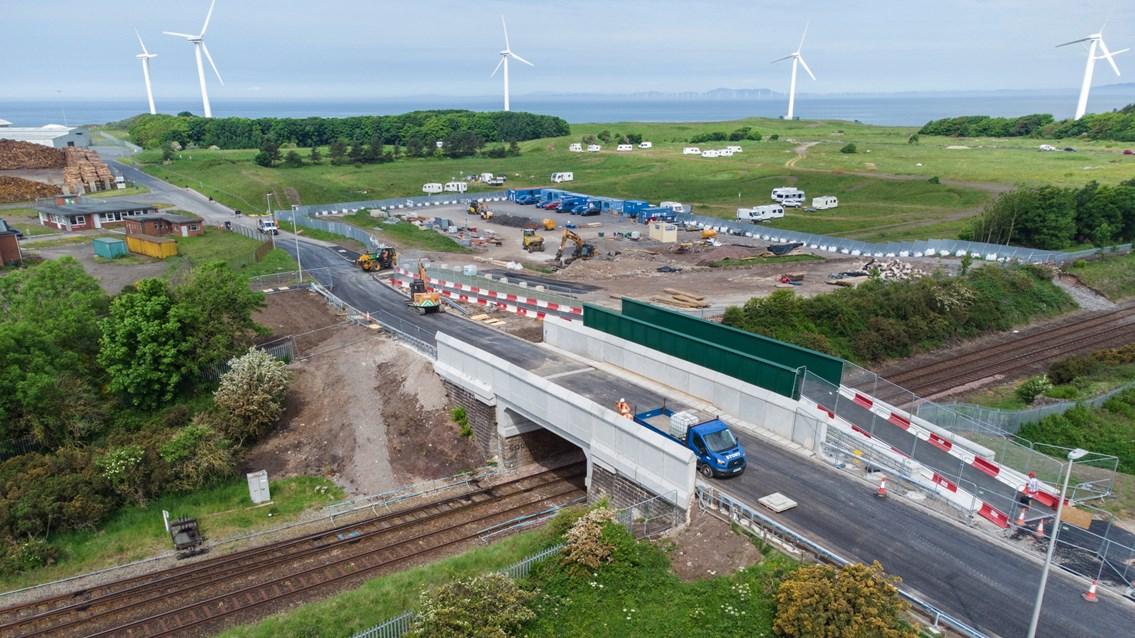 Port of Workington railway bridge reopens to motorists: New Siddick bridge drone shot after opening