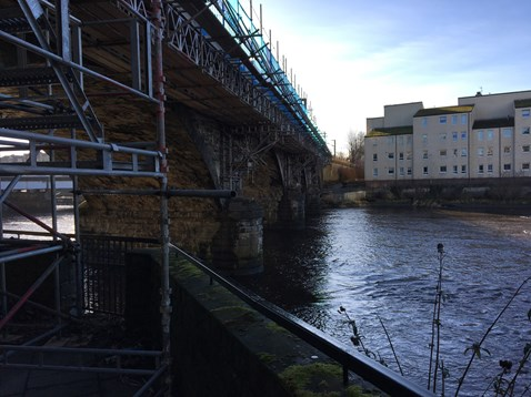 Scaffolding on Ayr Viaduct over river