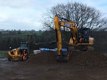 Machinary to build access road at Appleby landslip