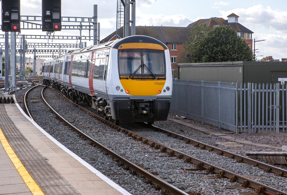 Class 170 leaving Cardiff Central