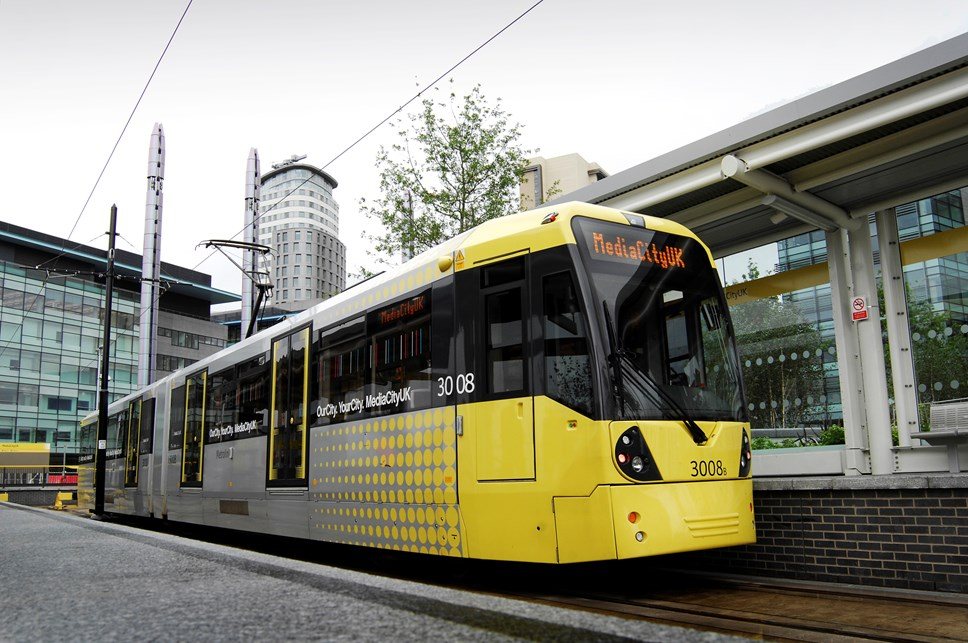 A decade of progress: Metrolink tram at MediaCityUK
