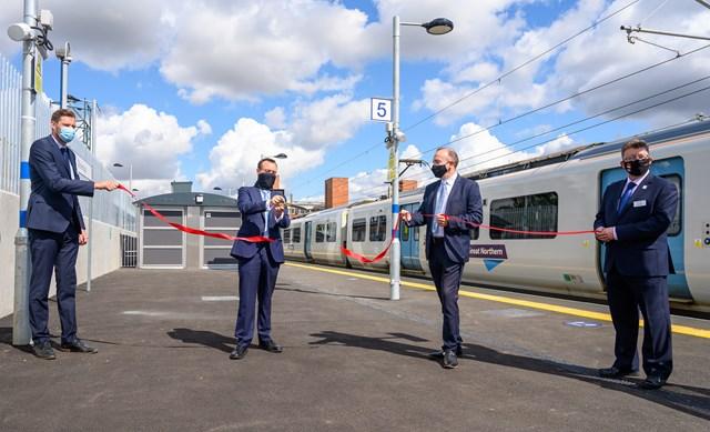 L to R Ed Akers, Principal Programme Sponsor for Network Rail, Stephen McPartland, MP for Stevenage, Chris Heaton-Harris, Rail Minister, Steve White, Chief Operating Officer for GTR