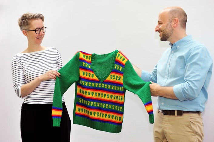 Museum takes Pride in city's LGBTIQ+ history: Ray and Ross with a Lesbian Lines knitted jumper credit Dawn Kilner