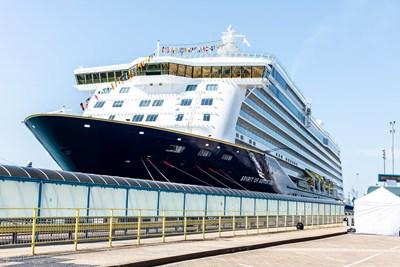 International cruising returns with Saga Cruises following a summer of round-Britain itineraries: Spirit of Adventure - external - Portsmouth International Port (naming ceremony)