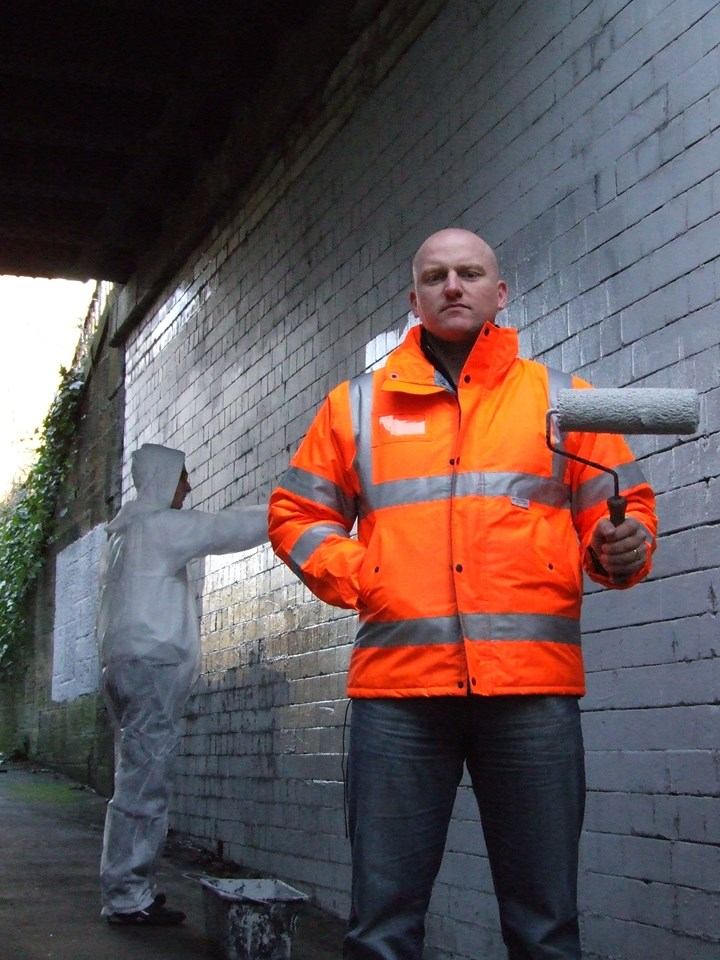 Scrubbing the slate clean: Mark Henderson, Community safety manager, on site in Edinburgh with a reformed railway vandal