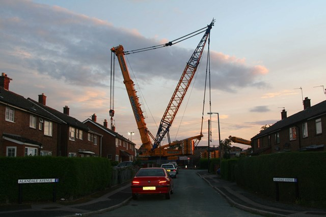 Trent Valley 4 Tracking Project: A 1000 tonne crane prepares to lift out the temporary road bridge at Lichfield Road, Armitage with Handacre