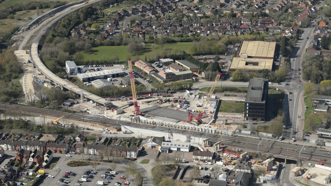 Wide shot showing flyover approach and concrete girders in position at Bletchley - Credit Network Rail Air Operations