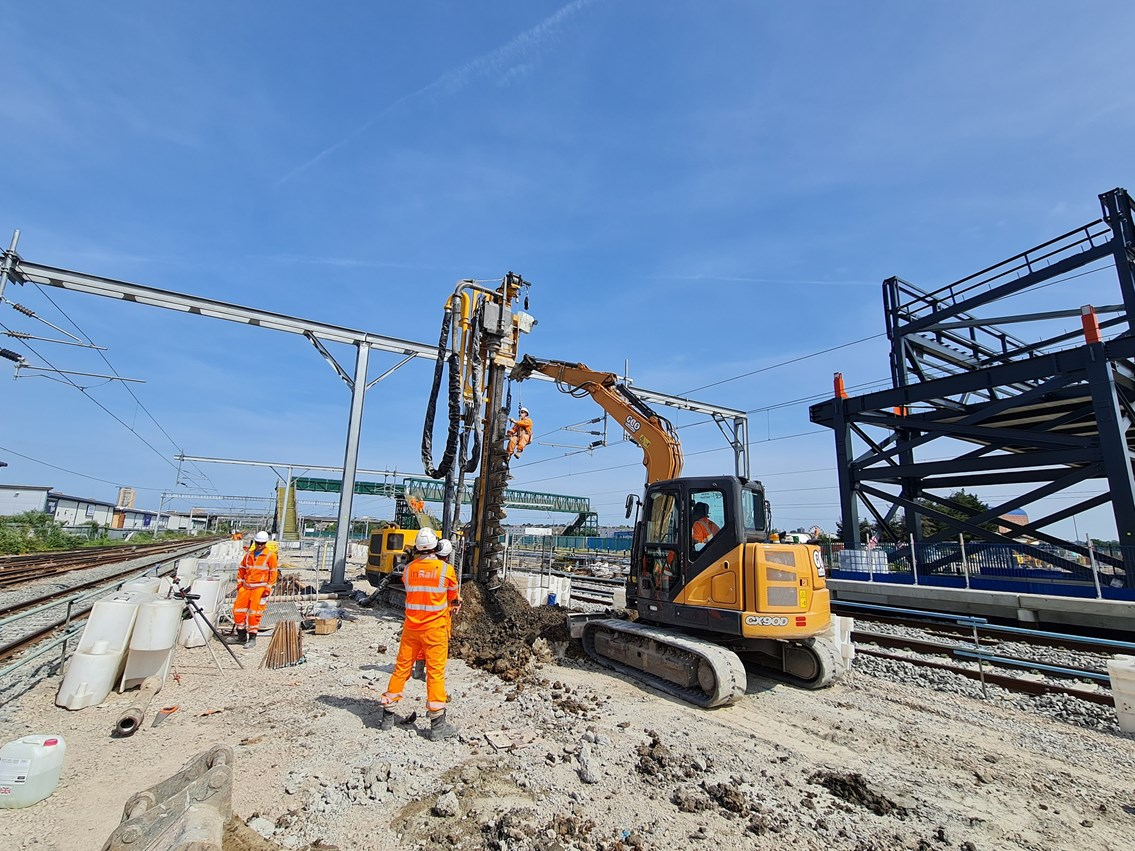 Work ramps up as Network Rail upgrades track and signalling over August Bank Holiday ready to connect Midland Main Line with new Brent Cross West station: Installation of piles on the fast platform at Brent Cross West station, photo credit - Mace