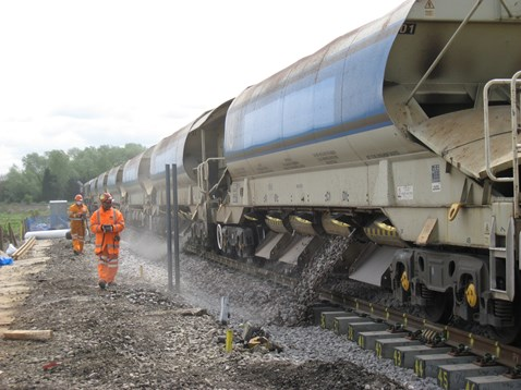 New ballast being dropped onto the line