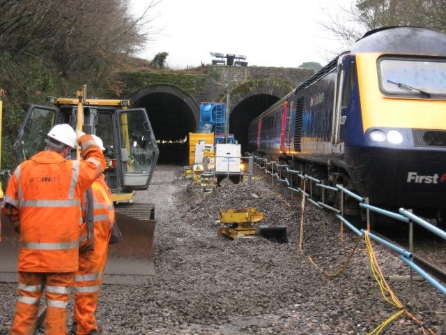 DEVON RAIL IMPROVEMENT WORK COMPLETED: Engineers working with a single opened to passengers