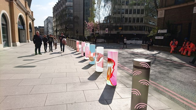 London Bridge Abessira mock-up: A mock-up of what the bollards will look like when during the exhibition
