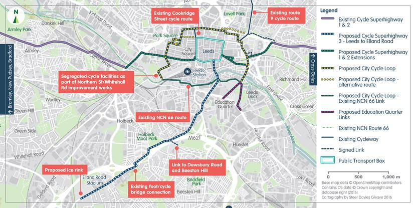 Leeds council bosses to discuss further £6.5m CityConnect cycling improvement plans: cityconnect2mapleedscitycentrecreditcityconnect.jpg