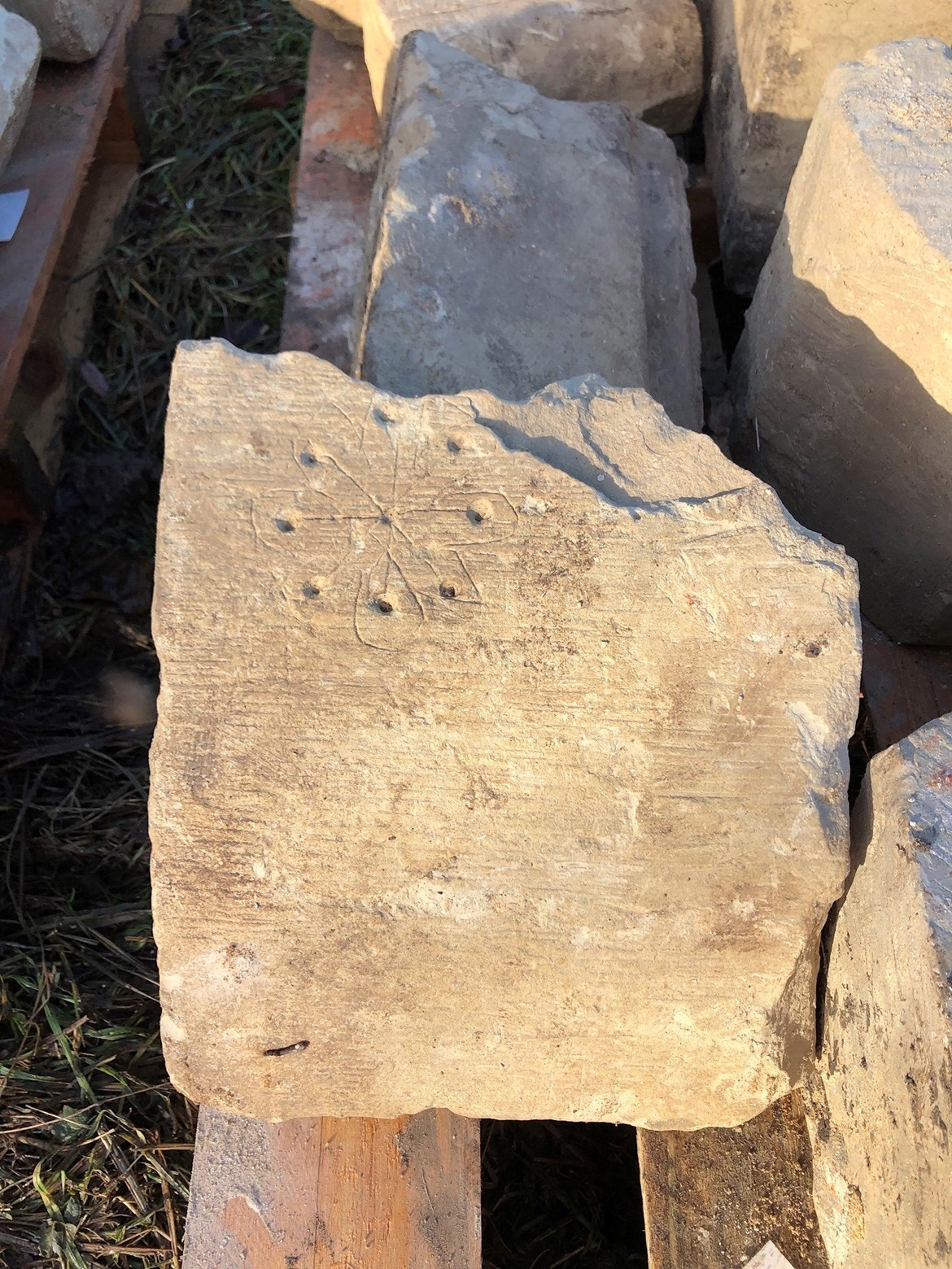 St Mary's Graffiti October 2020: Credit: HS2 Ltd Medieval graffiti associated with repelling evil spirits unearthed by HS2 in Stoke Mandeville. (Arcehology, Stoke Madeville, Buckinghamshire, medieval, heritage, witching)