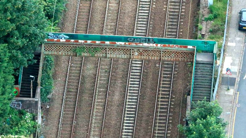 Residents invited to learn more about major Mossley Hill railway footbridge upgrade: Mossley footbridge aerial shot