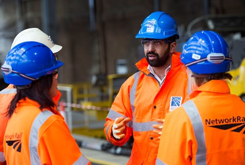 Humza Yousaf with Network Rail project staff