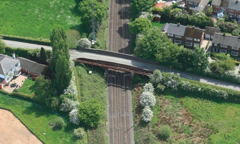 Event for public to learn more about bridge strengthening project in Cheshire: Aerial view of Woodford Road bridge