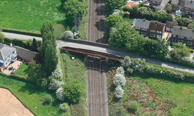 One week until road closed for major railway bridge upgrade in Cheshire: Aerial view of Woodford Road bridge