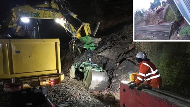 Emergency repairs secure railway after landslip in Kidderminster: Kidderminster landslip composite