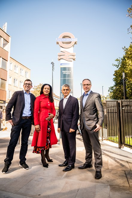 The official launch of the transformed Highbury Corner with (L-R) Will Norman, the Mayor of London's Walking and Cycling Commissioner; Cllr Webbe, Islington Council's executive member for environment and transport; Sadiq Khan, Mayor of London; and Cllr Richard Watts, Leader of Islington Council