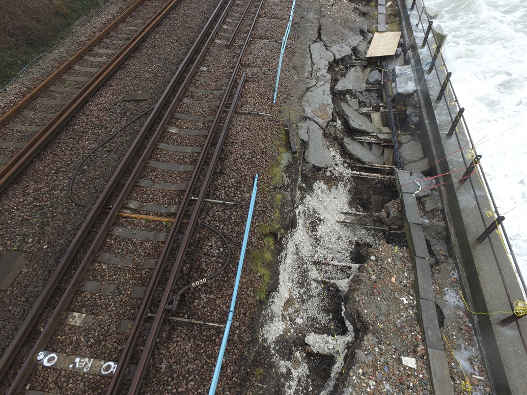 Railway between Dover Priory and Folkestone Central closed after damage to sea wall: Damage to the track at Dover, Kent