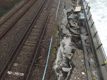 Damage to the track at Dover, Kent