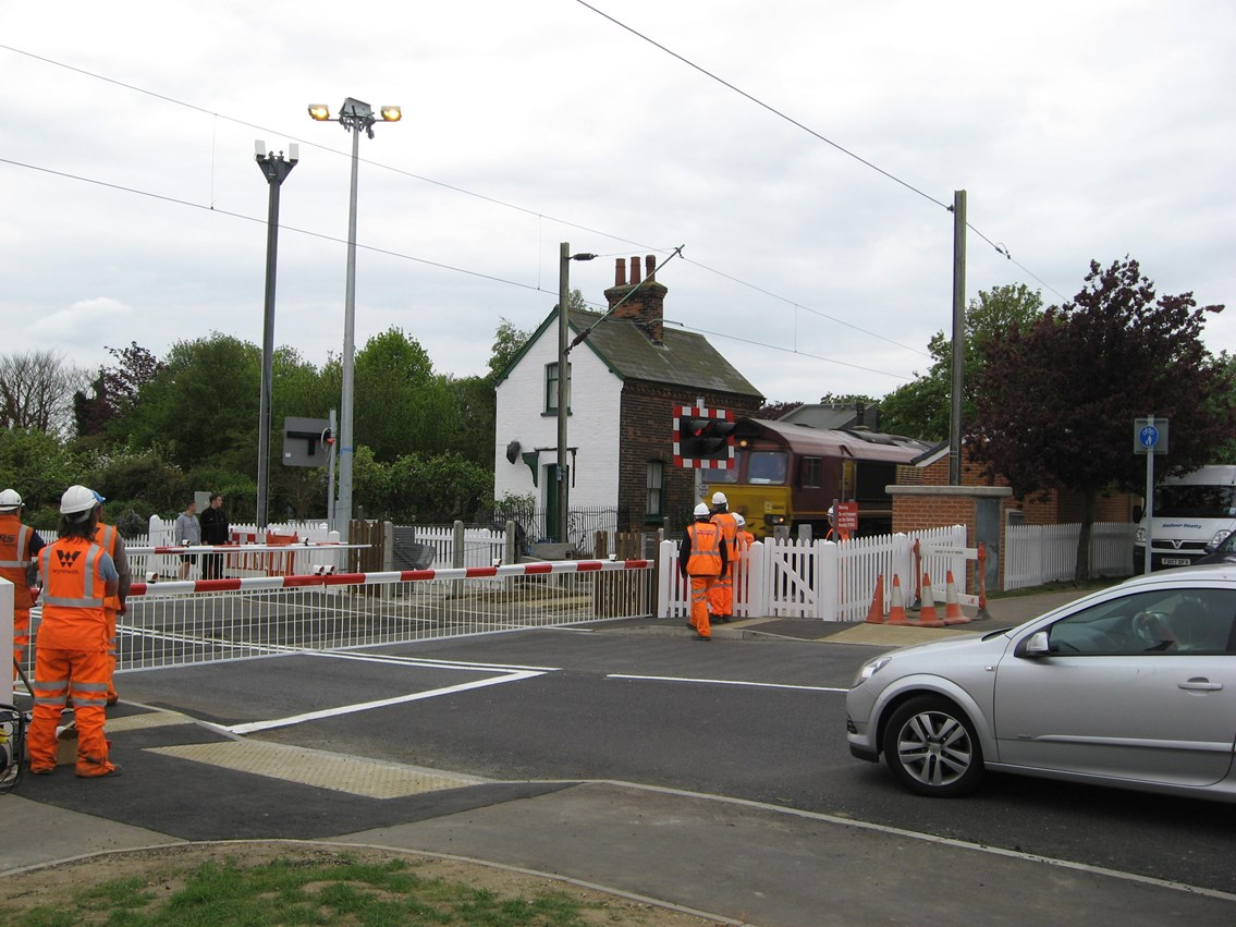 New crossing, Frinton-on-Sea: A test train approaches the newly upgraded crossing at Frinton-on-Sea, installed May Day bank holiday weekend 2009. The new crossing is controlled by CCTV from Colchester signal box.