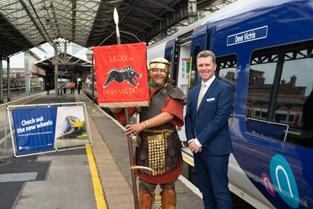 Chester 5: David Brown (Northern MD) is joined by a Roman soldier from Roman Tours Deva Victrix at the launch of new trains for Chester.