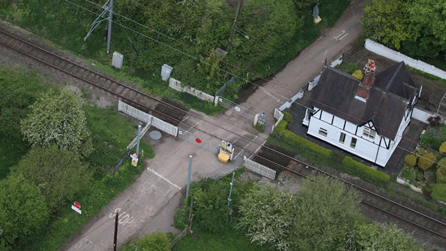 Aerial view Barthomley level crossing