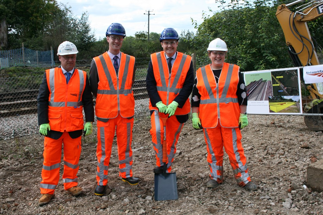 Tom Tugendhat MP marks start of work on Uckfield line platform extensions.: HEVER - SPADE IN THE GROUND