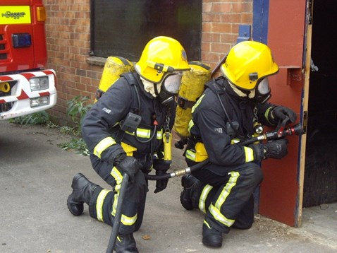 Firefighters carry out training before vacant building is demolished