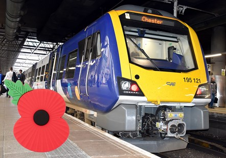 Northern offers free travel for armed forces for Remembrance Day: Class 195 with poppy