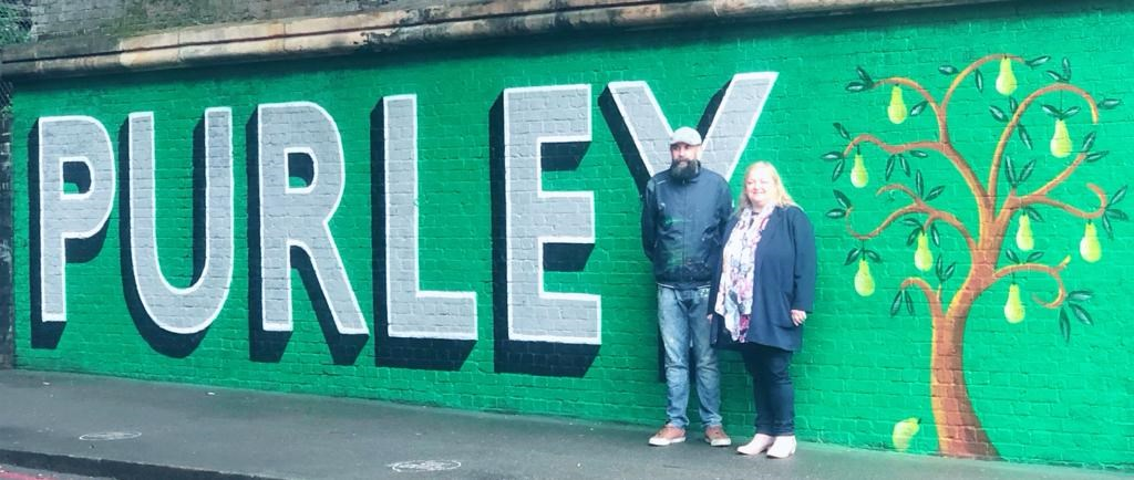 Purley mural with Lionel Stanhope and Catherine Garrad